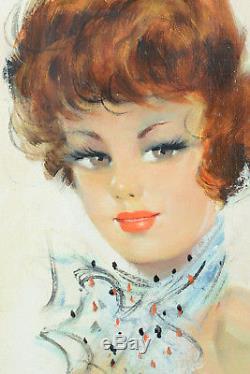 Beau tableau ancien Portrait jeune femme Rousse Foulard Lempereur1950 Parisienne