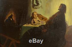 Beau tableau ancien Religieux Les Pèlerins d'Emmaüs Rembrandt étude Christ hsc