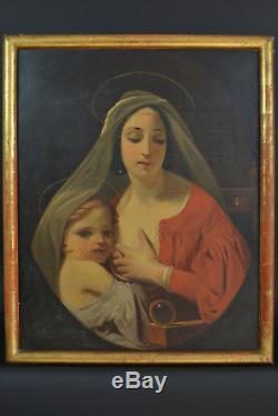 Beau tableau ancien Religieux Portrait Maternité Vierge Allaitant Romantisme Hst