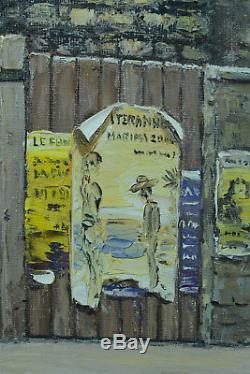 Beau tableau ancien Rue Mouffetard Paris Affiche Palissage Villeglé René Dulieu