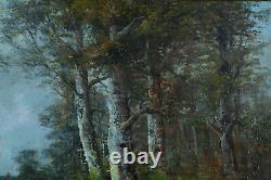 Beau tableau ancien Signé Paysage arboré animé école de Barbizon Animé 19 ème