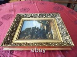 Beau tableau ancien XIXÈME, signé et daté. Paysage animé. Huile sur toile