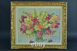 Beau tableau ancien nature morte Bouquet de fleurs Stéphane Lamarche jardin