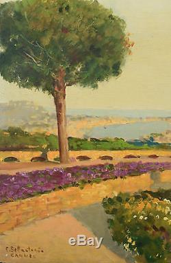 Beau tableau ancien paysage bord de mer vue de Cannes signé Emilio Bellantonio