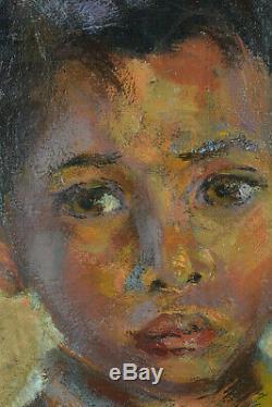 Beau tableau ancien portrait d'enfant Indochine Asie Huile sur toile N°1
