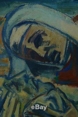 Beau tableau ancien religieux PIETA CHRIST VIERGE SIGNÉ georges PONCELET HST