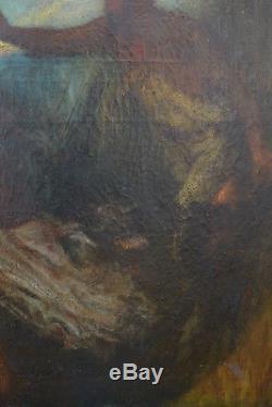 Beau tableau ancien symboliste Faune poursuivant une nymphe sv Cabanel ange 19e