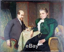 Charles Corbineau (Français, 1835-1901) Ancien Tableau Peinture Huile Painting