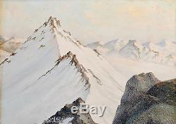 Charles DE ZIEGLER (1890-1962) MONTAGNE MONT BLANC HUILE TABLEAU ANCIEN CADRE