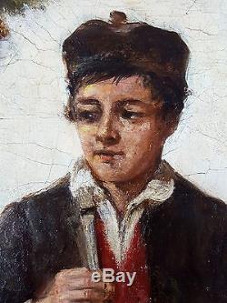 Charles Henry Cook (Irlandais, 1830-1906) Ancien Tableau Peinture Huile Original