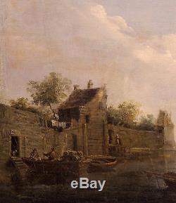 Charmant paire de tableaux anciennes XVII siècle Huile sur bois Scènes fluvial