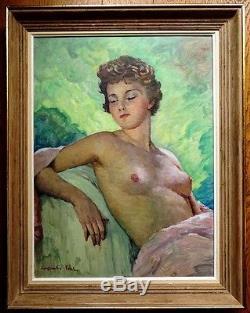 Constantin FONT (1890-1954) Grand NU Huile sur toile Tableau ancien