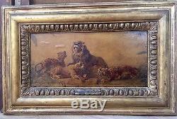 Delacroix Etude De Lions Huile Sur Papier Tableau Dessin Ancien Xixeme