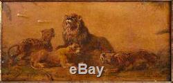 Delacroix Huile Sur Papier Etude De Lions Tableau Dessin Ancien