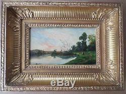 DELPY Jacques-Henry, 1877-1957 (France)-Tableau ancien/ Huile-rivière-Oil