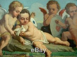 DESSUS DE PORTE ANCIEN TABLEAU HUILE/TOILE NIII CHERUBINS Ca. 1870 ESP. BAUDRY