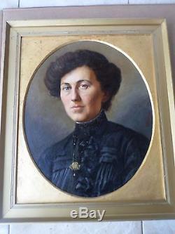 DUPUIS Louis -Tableau ancien/Huile/toile Peinture XIX/XXe-Portrait FEMME-oil