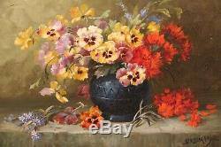 Deburges Huile sur toile nature morte fleurs tableau peinture ancienne artprice