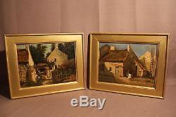 Deux anciens tableaux huiles sur bois scènes de campagne époque XIXème siècle