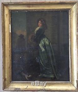 Ecole Francaise 19eme Elegante Huile Sur Toile Tableau Ancien