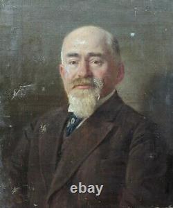 E. GELHAY tableau ancien huile toile 19e à restaurer Portrait d'Homme ARTPRICE