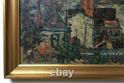 Ecole Fauve, Paysage à l'usine, Tableau ancien, Huile sur isorel, XXe