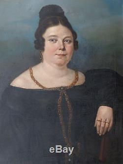 Ecole Française XIXe-Tableau ancien/Huile/toile-Grand Portrait FEMME forte-oil