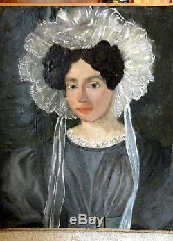 Ecole Francaise XIX / Tableau Ancien / Huile /portrait Femme