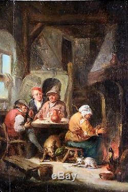 Ecole Hollandaise Du XVIIIème Siècle, tableau ancien, HSP-signé