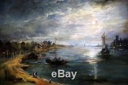 Ecole Hollandaise du XIXe paysage Nocturne tableau ancien, HST