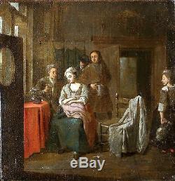 Ecole Hollandaise du XVIIè signée, tableau ancien, HST