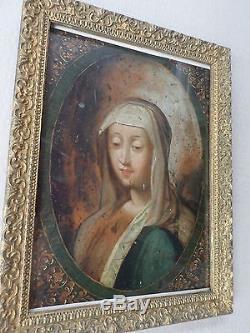 École Italienne XVIIe -Tableau ancien-Vierge-MADONNE-baroque-Huile-cadre-OIL