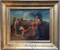 Ecole Néo-classique début XIXème-Tableau ancien-non signé-Cadre doré-Mythologie