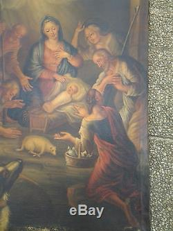 Ecole XVIIIème HST Nativité qualité Grand tableau Ancien