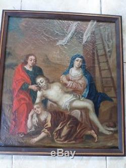 École XVIIe-Tableau ancien-DEPOSITION DE CROIX-Christ /Vierge-Huile-Cadre-OIL