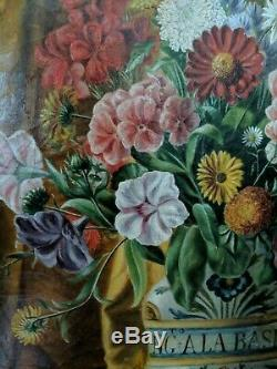 École française du 19ème Bouquet de fleurs huile sur toile tableau ancien