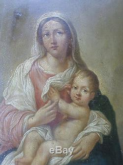Ecole italienne- Tableau ancien/Vierge à l'enfant-Madonna-XIXe-Huile-OIL