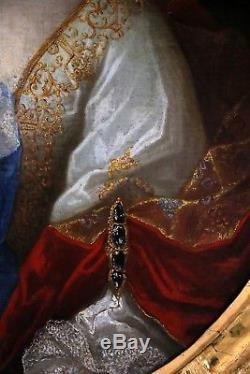 Ecole provençale vers 1680 Grand portrait Dame de qualité-Tableau ancien
