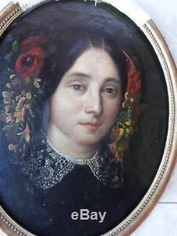 École romantique française XIXe-Tableau ancien-Portrait-Femme/fleurs-Huile-OIL