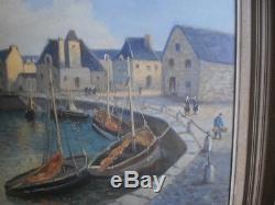 Emile Gauffriaud tableau ancien peinture Le Port du Croisic rare grande toile