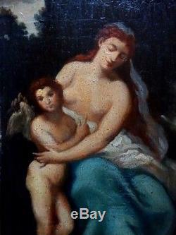 Exceptionnel tableau ancien 19ème vierge madone et enfant ange dans un paysage