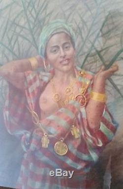 Extraordinaire tableau orientaliste ancien signé