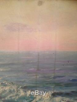 Francesco FILIPPINI (1853-1895) Tableau Ancien XIXe Marine vue Mer Huile Signée