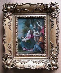 Fuite en Egypte Rare tableau ancien Huile sur cuivre Cercle Albani Italien 1700
