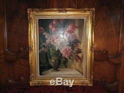 GRAND BEAU TABLEAU FLEURS PIVOINES, Ancien, Peinture huile, Signé, 57 x 45 cm