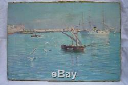 G Lemaitre tableau ancien Orientaliste Marine Baie d'Alger fin XIXe Bateaux