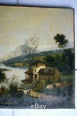 Gabouin 1875 Huile/Toile Tableau Ancien Paysage Montagne école Suisse Alpes