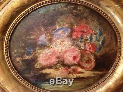 Georges CHONE (1819-) Ancien tableau Ecole de BARBIZON XIXe Bouquet de Fleurs