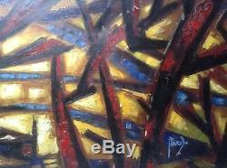 Grand Tableau Ancien Abstraction COBRA Paysage à la Barque Huile style ATLAN