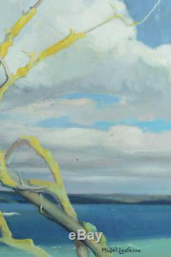 Grand Tableau Ancien Bord de Mer Bretagne Bois flottés Ciel Madeleine Weil N°1